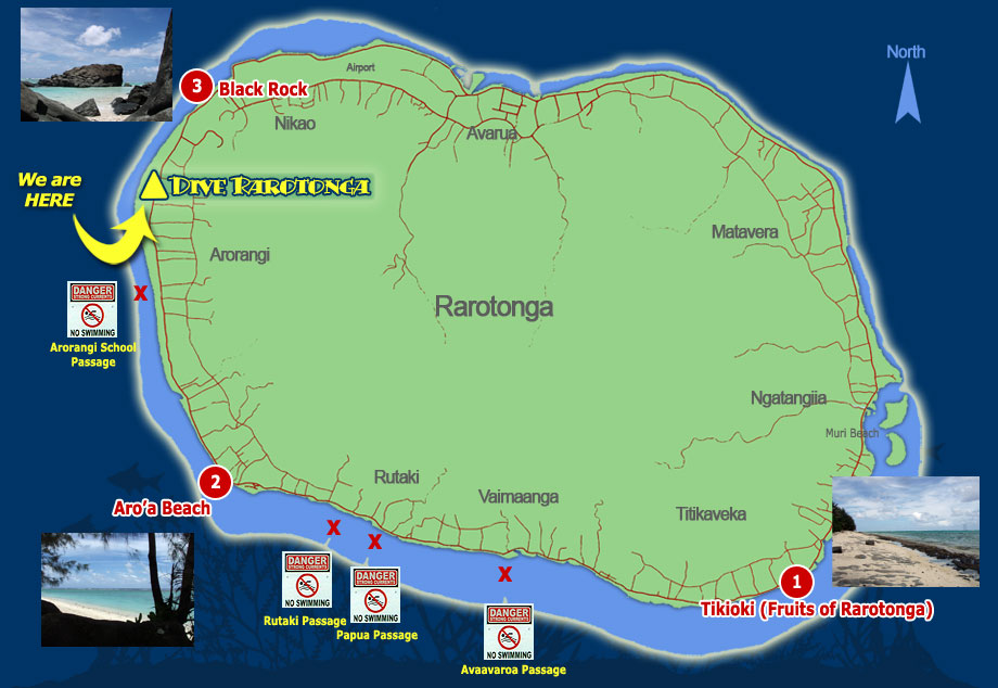 Map of Rarotonga Snorkel sites
